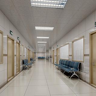 医院休息区等待区整体模型
