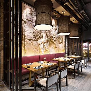 现代中式餐厅整体模型