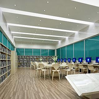 现代图书馆整体模型