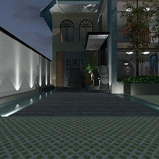 复式古典楼整体模型