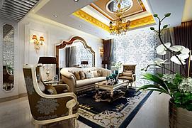 欧式沙发茶几整体模型