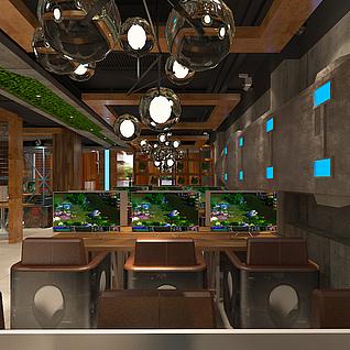 罗曼特网咖2楼整体模型