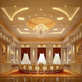 酒店餐厅整体模型