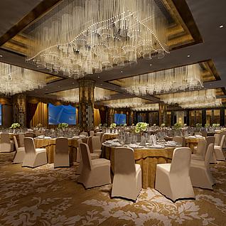 现代豪华宴会厅整体整体模型