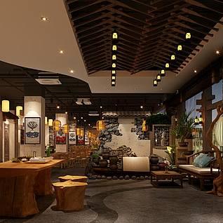 中式火锅店3d模型