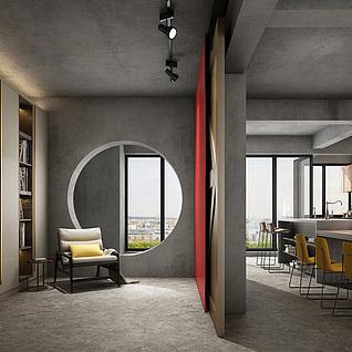 现代工业客厅3d模型
