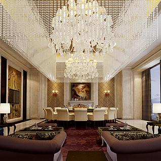 现代豪华酒店包间整体模型