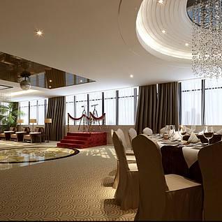 豪华大包房宴会厅整体整体模型