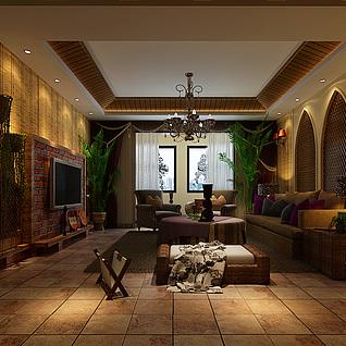 东南亚风格客厅3d模型