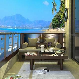 别墅阳台外景3d模型