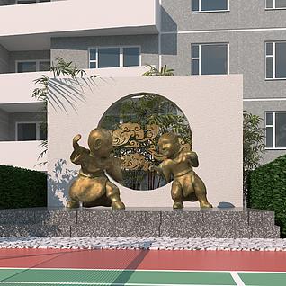小区园林景观广场3d模型