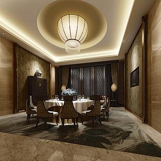 现代酒店豪华包间整体模型