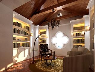 东南亚风格书房3d模型