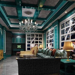 欧式风格客厅3d模型