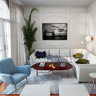 欧式会客厅3d模型