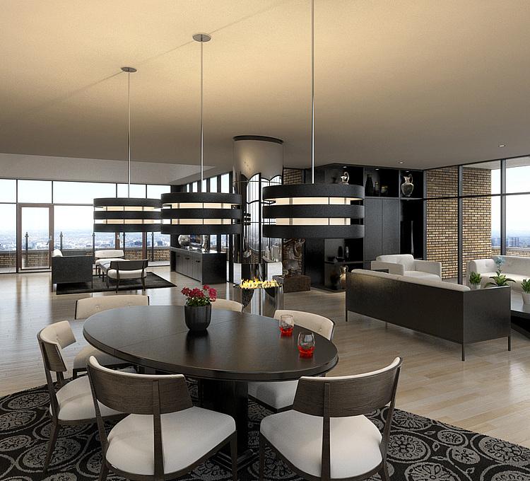 客厅餐厅厨房模型