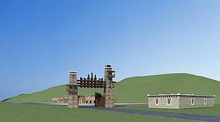 藏族游客接待中心工装模型