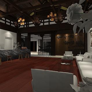 传统风民宿前厅3d模型