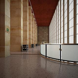 大厅柱子护栏整体模型