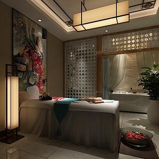 中式美容院包间整体模型