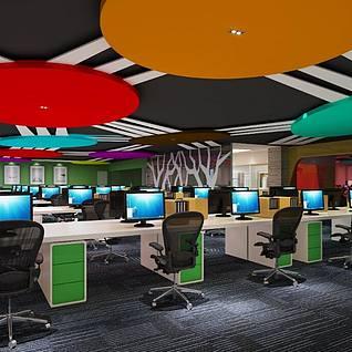 现代风格办公室3d模型
