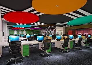 现代风格办公室工装模型