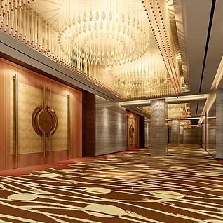 宴会厅大门走廊整体模型