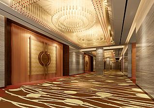 宴会厅大门走廊3d模型