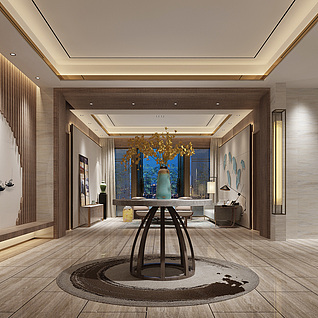 现代中式客厅玄关3d模型