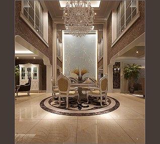 欧式别墅客餐厅3d模型