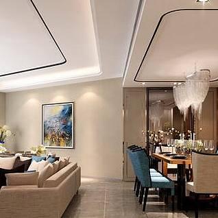 现代客厅餐厅整体3d模型