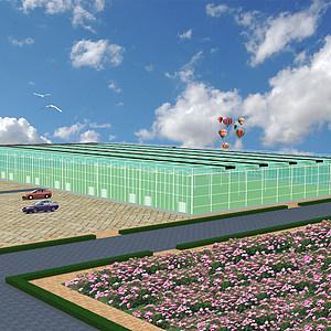 玻璃连栋温室3d模型