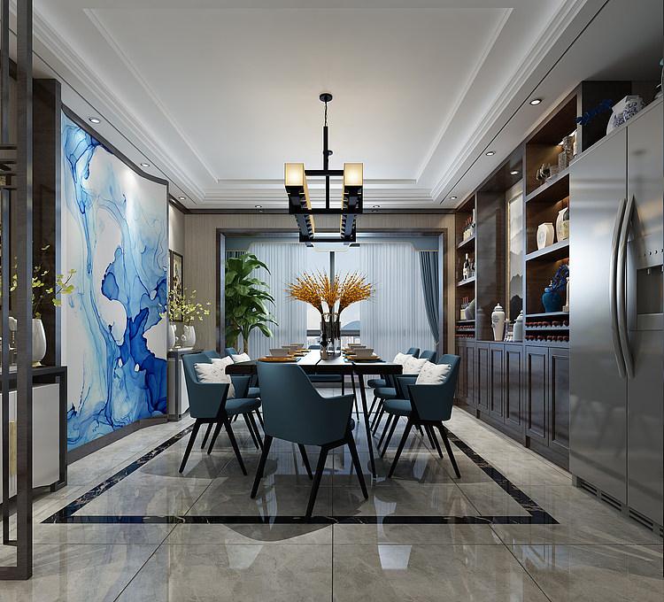 现代家装餐厅模型