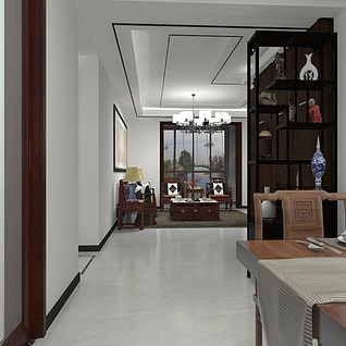 简约中式风格客餐厅3d模型
