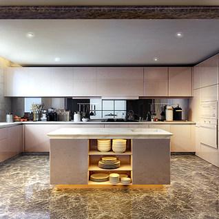 现代创意厨房整体模型