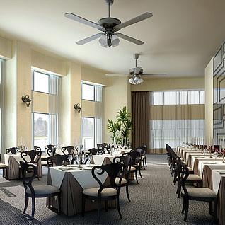 简欧餐厅整体模型