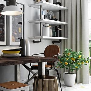 北欧咖啡厅桌椅组合整体模型