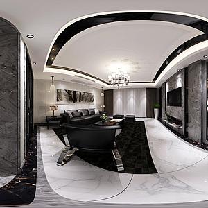 客餐厅全景模型3d模型