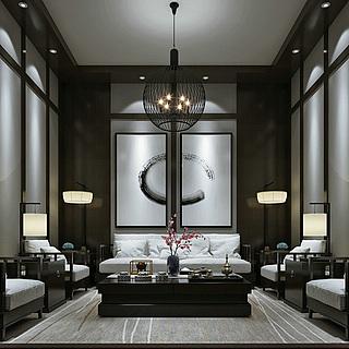 中式会客厅整体模型