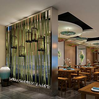中式特色餐厅整体模型