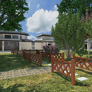 小花园栏杆整体模型