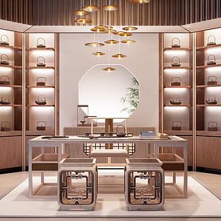 新中式书房茶室雕花椅子创意吊灯整体模型