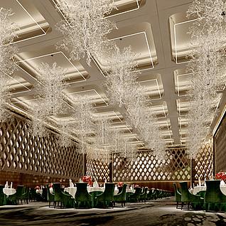 现代豪华宴会厅整体模型