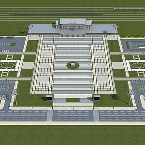 车站前广场铺地景观规划整体模型