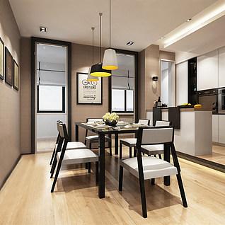 厨房餐厅整体模型