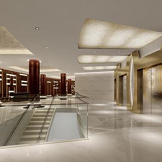 现代大型过道电梯间整体模型