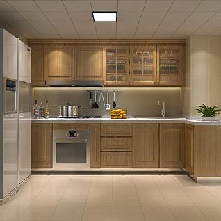 简欧厨房整体模型