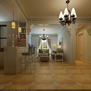 简欧风格客餐厅3d模型