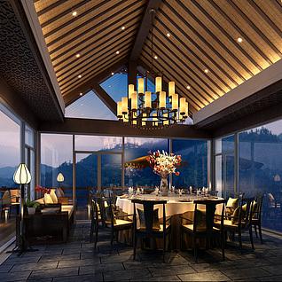 风景餐厅整体模型