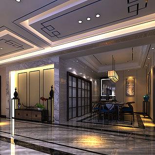 新中式客餐厅风格3d模型